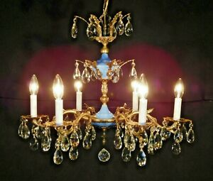 Antique French Empire Brass 6 Arm 6 Lite Imperial Blue Lead Crystal Chandelier