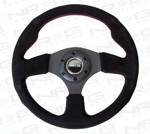 Nrg Steering Wheel 320mm Race Sport Black Suede Red Stitches