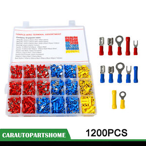Us 1200pcs Insulated Assorted Electrical Wiring Connectors Crimp Terminals Set