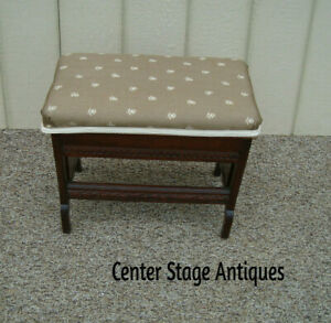 59998 Antique Victorian Footstool Bench Stool Ottoman Figural Carvings