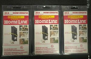 3 square D Homeline Hom120gfic 20a Gfci Gfi Circuit Breaker New Sealed Fast Ship