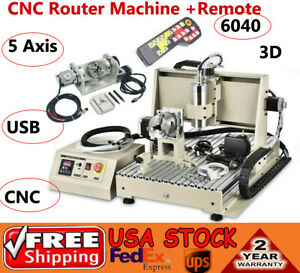 Usb 5 Axis 6040 Cnc Router Engraving Machine Drill Carver 3d W Remote 1500w Kit