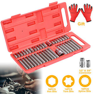40pc 3 8 1 2 Torx Star Spline Chrome Hex Socket Power Bit Set Drive Gloves Us