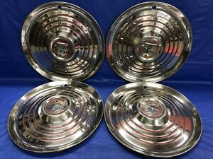 Vintage Set Of 4 1952 Mercury 15 Hubcaps Monterey Montclair Colony Park Lane Gc