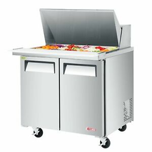 Turbo Air Est 36 15 n6 36 Two Section Mega Top Sandwich Prep Table 15 Pan