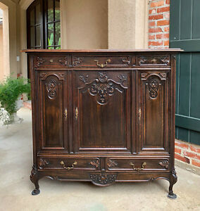 Antique French Carved Oak Sideboard Dresser Cabinet Louis Xv Brass Victorian B