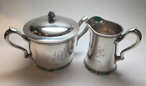 Antique Tiffany Co Sterling Silver Lidded Sugar Bowl And Creamer 5962