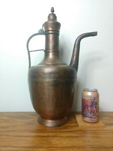 18 Huge Near Mint Vintage Hand Hammered Copper Turkish Coffee Pot Carafe Lined