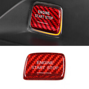 Red For Chevrolet Camaro 2016 2019 Carbon Fiber Engine Start Stop Swtich Cover