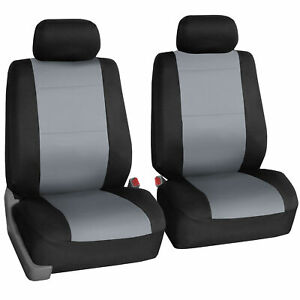 2pc Front Car Seat Covers 100 Waterproof Polyester neoprene Gray Black
