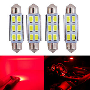 A1 Auto 4x 6429 42mm Festoon Led Blubs High Bright Dome Map Trunk Light Red