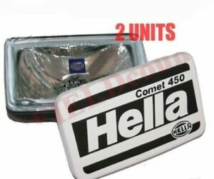 2 Universal Hella Comet 450 Spot Driving Light With Cover H3 Bulb 55w 12v S2u