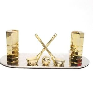 Gold Metal Golf And Clubs Business Card Holder 4 5 Wide X 2 Deep