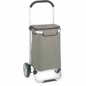 Grocery Utility Flat Folding Shopping Cart Rolling Duty Snap Lock Wheels Grey