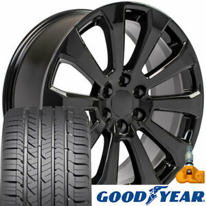 22x9 Black 5922 Rims Gy Tires Tpms Set Fit Chevrolet Gmc 1500 High Country