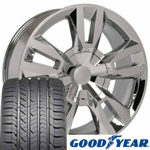 22x9 Chrome 5821 Wheels Goodyear Tires Set Fits Chevy Tahoe Rst Rally