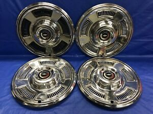 Vintage Set Of 4 1967 Chevrolet 14 Hubcaps Chevelle Malibu Good Condition