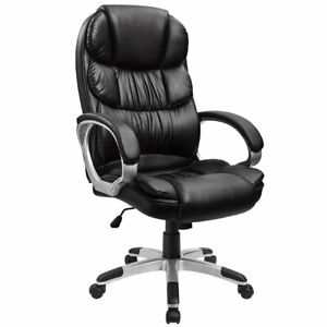 Heavy Duty Leather Office Rolling Computer Chair Black Mid Back Executive Desk