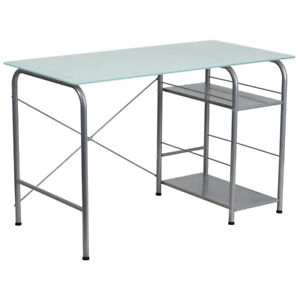 Computer Desk With Silk White Tempered Glass Top Open Storage Metal Base