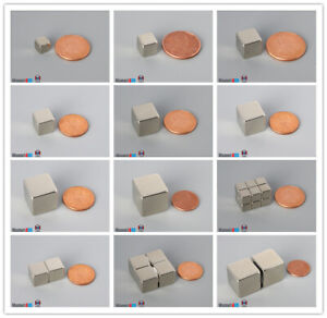 2 10 20pcs Multiple Size Cube Rare Earth Neodymium Block Magnets