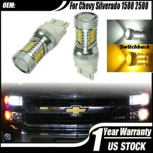 Led Turn Signal Light Bulbs White Amber Switchback For Chevy Silverado 1500 2500