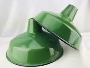 14 Porcelain Enamel Metal Lamp Shade Light Industrial Gas Station Farm Green