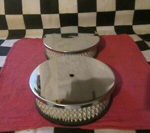 2 Used Dual Quad Pancake Air Cleaner Tops lids 6 3 8 Diameter Street Racer