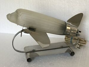 Art Deco Design Dc 3 Airplane Desk Light Lamp Chrome Glass Sarsaparilla Nyc Vtg