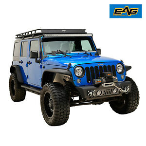 Eag Stubby Front Bumper Black With D ring Shackle Fit For 07 18 Jeep Jk Wrangler