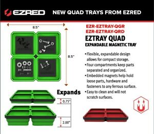 Ez Red 8 5 Ez Tray Quad Collapsible Magnetic Parts Tray Green Eztray Qgr