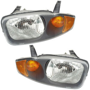 Headlights Front Lamps Pair Set For 03 05 Chevy Cavalier Left Right