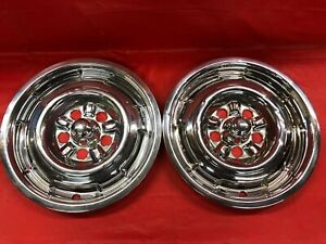 Rare Vintage Pair Of 1965 67 Mercury 14 Front Hubcaps Cyclone Comet Good Cond