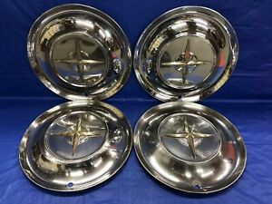 Rare Vintage Set Of 4 1954 Chrysler 15 Hubcaps New Yorker