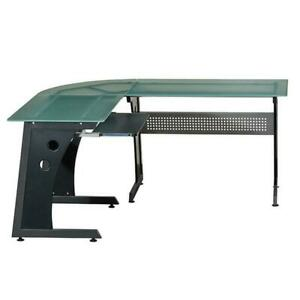 L shape Computer Desk With Frosted Tempered Glass Top Pull out Keyboard Tray