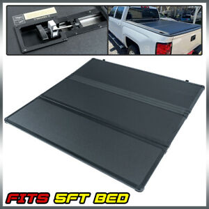 5ft Short Bed Fit For 2016 2021 Toyota Tacoma Tri Fold Lock Hard Tonneau Cover