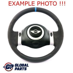 Bmw Mini Cooper R50 R52 Cooper New Black Leather Steering Wheel 2 Spoke Trim
