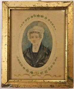Great Antique Early 19th Century Watercolor Portrait Of A Lady In Bonnet History