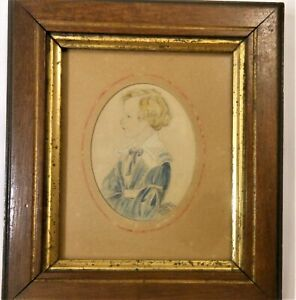 Great Antique Early 19th Century Watercolor Portrait Of A Child Age 5 1841