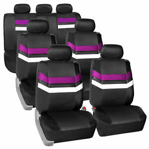 3 Row 7 Seaters Purple Black Seat Covers Full Set For Suv Van Auto
