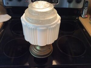 Art Deco Milk Glass Skyscraper Celling Light With Base