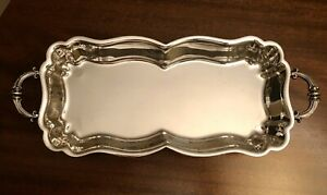 Silver Plated Rectangular Serving Tray Dish W Feet Handles