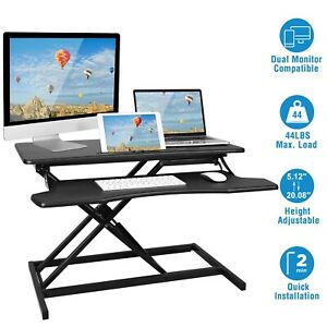 Height Adjustable Standing Desk Sit Stand Dual Monitor Workstation Rise Tabletop