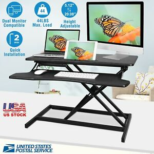 Us Stock Height Adjustable Standing Desk Monitor Riser Sit To Stand Workstation