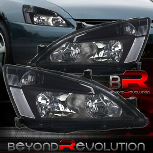 For 03 07 Honda Accord 2 4dr Jdm Crystal Headlights Black Housing Clear Lamps