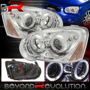 For 2004 2005 Subaru Wrx Sti Projector Headlights Halo Led Chrome Housing