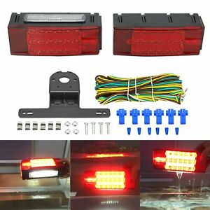 Newest Trailer Led Submersible Rectangle Stop Turn Tail Lights Harness Bracket