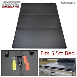 For 2007 2013 Toyota Tundra 5 5ft Short Bed Hard Solid Tri fold Tonneau Cover