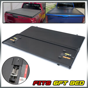 6 Ft Bed Lock Hard 3 fold Tonneau Cover Black For 2015 2020 Gmc Colorado Canyon
