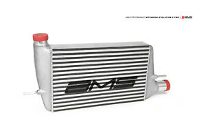 Ams Front Mount Intercooler W Modular Cast End Tanks And Logo For 08 15 Evo X