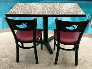 Chili s Restaurant Tile Top Table Plus 4 Chilis Logo Chairs Authentic
